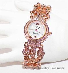 Victoria Wieck Clear Crystal Rose Gold Bracelet Watch NEW HSN $39