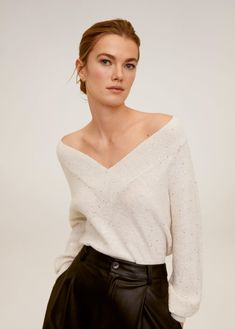 Knitted fabric Neps fabric V-neck Long sleeve Elastic finish Cable knit finish Mango Outlet, Pulls, Knitted Fabric, Cable Knit, Off Shoulder Blouse, Sweater Cardigan, Latest Trends, Bell Sleeve Top, Sweaters For Women