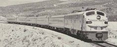 Union Pacific City of Las Vegas, 1957-1967. In September, 1957, the Union Pacific replaced its' experimental Aerotrain (leased from GM) with a train of conventional cars that could be varied according to demand. The somewhat reduced City of Las Vegas on July 4, 1961 at Cahon Pass. This train has only 4 coaches, no lunch-buffet car and no baggage car. Photo by T.M. Hotchkiss.