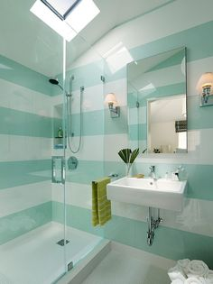 striped walls with decorations over stripes | Blue And White Stripe Bathroom Wall Paint With Glass Shower Room And ...
