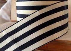 striped black ebony and cream ribbon by ShyMyrtle on Etsy, $2.00