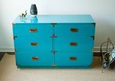 Campaign Chest / Dresser - Mid-Century, Teal, Aqua in Clearing West, Chicago ~ Apartment Therapy Classifieds