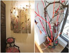 love the fabric and yarn wrapped branches, I was inspired to do this in my own room!