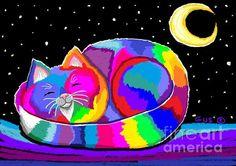 Slumbering Rainbow Cat by Nick Gustafson