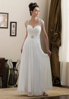 A Line Sweetheart Floor Length Chiffon Beading Wedding Dress Style