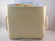Yellow And White Gingham Check Fabric Basket With Rope Handles For Storage Or Gift Giving