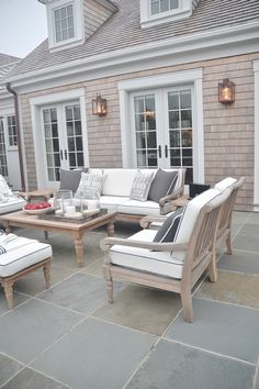 Neutral and classic back patio style.