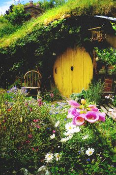 And this would be my hole because the door is yellow and there are pink flowers.