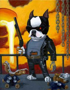 Boston terrier Terminator art print bt by rubenacker on Etsy, $18.00  Brian Rubenacker