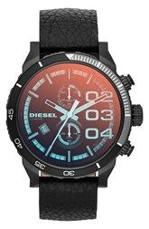 DIESEL® 'Advanced' Round Chronograph Leather Strap Watch, 48mm