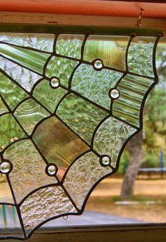 Spider Web Corner vitrail décoration Halloween Decor par GlassByKat