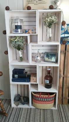 Crate bookcase Ben and I whitewashed today :) (and my bridal bouqets!)