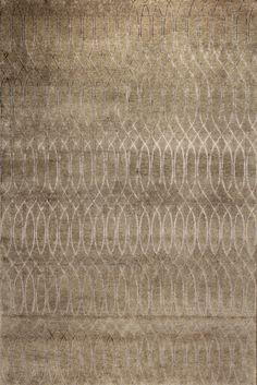 tapis contemporain à motifs en laine et soie (fait main) JERICO Edition Bougainville. Motifs inspirés des dessins créés par le vent sur les dunes de Jericoacoara au Brésil.