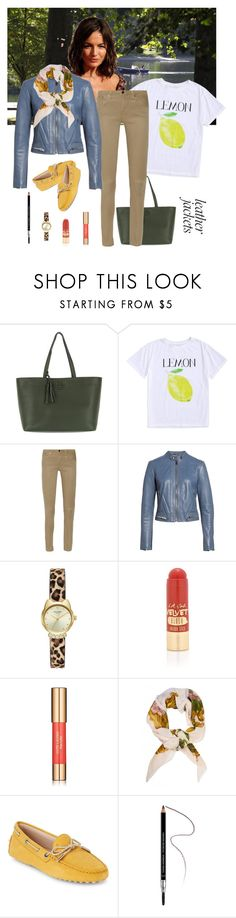 """""""Jacket: White, Sky Blue, Yellow"""" by henleysc ❤ liked on Polyvore featuring Tory Burch, Helmut Lang, Lewit, L.A. Girl, Estée Lauder, Chanel, Tod's and Givenchy"""