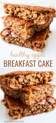 This healthy apple cake is delicious and super easy to make - it's kinda like a baked oatmeal recipe, but better. This healthy easy breakfast recipe is delicious and you don't need a ton of ingredients. Healthy Oatmeal Breakfast, Apple Breakfast, Vegetarian Breakfast Recipes, Breakfast Cake, Oatmeal Breakfast Cookies, Healthy Baked Oatmeal, Homemade Breakfast Bars, Baked Oatmeal Recipes, Healthy Sweets