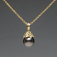Hawaiian jewelry, Plumeria flower and Tahitian pearl pendant