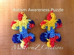 Rainbow Loom AUTISM AWARENESS PUZZLE PIECE charm. Designed and loomed by MarloomZ Creations. Click photo for YouTube tutorial. 04/06/14