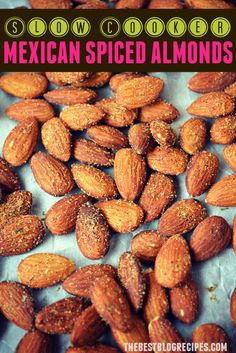 These Slow Cooker Mexican Spiced Almonds are so easy to make and have just the right amount of flavor! Stop eating plain almonds when you can have these delicious ones for a fun snack! Savory Snacks, Easy Snacks, Healthy Snacks, Healthy Recipes, Crockpot Recipes, Healthy Eating, Spicy Almonds, Roasted Almonds, Pecans