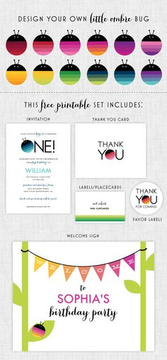 free printable party set - design your own little ombre bug