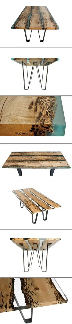 Poetic Wood and Resin Boat Inspired Dining Table