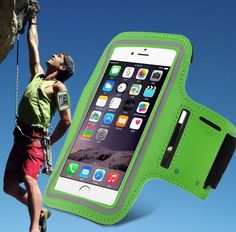 iPhone 6 Sport Armband Phone Holder Arm Case Key Pocket Green NEW Jogging Biking #UnbrandedGeneric