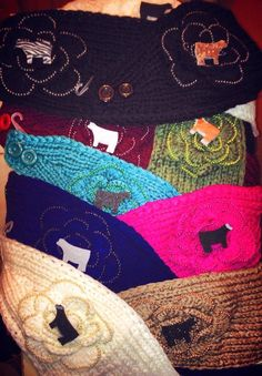 Don't forget to cover your ears!! Custom show cattle, lamb, pig or goat winter headbands from Farm Girl Factory!  Get them before it gets cold!!!