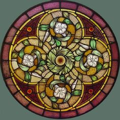 """Antique American Round Painted/Stained Glass Window from Povey Bro. Studio's 36"""" dia.  fid6042"""