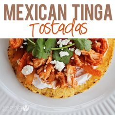 Food and Drink. Amazing Mexican Tinga Tostadas! You probably already have most of the ingredients in your kitchen! Printable recipe at howdoesshe.com