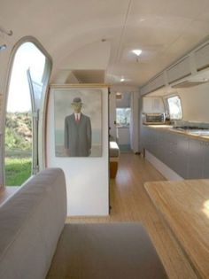 Awesome Modern Living Room With Archaic Airstream Renovations For Travel Trailers With Laminate Floor With Gray Sofas Color With Man With Suit Color Also Gray Kitchen Cabinet Airstream Living, Airstream Remodel, Airstream Renovation, Airstream Interior, Vintage Airstream, Airstream Trailers, Travel Trailers, Vintage Trailers, Vintage Campers