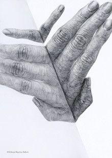 Hand an Spiegel Finger spiegeln sich