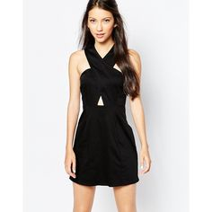 Motel Kowloon Dress With Cross Front ($55) ❤ liked on Polyvore featuring dresses, black, slimming dresses, cut out dress, black cut out dress, tall dresses and slimming cocktail dresses