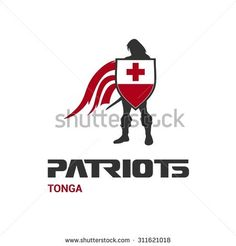 Vector Tonga Flag Patriots Soldier Logo. Mascot Character Design. Memorial Day Army man with Shield. Vector Freedom Leader Logo illustration