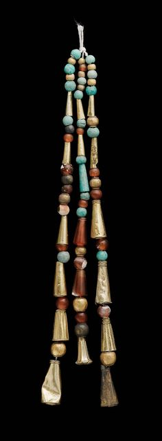 Beads and pendants | Museum of Fine Arts, Boston. Nubian, Napatan Period, reign of Aspelta, 593–568 B.C. | Nuri, Nubia, Sudan | Gold, carnelian, green amazonite, and white faience