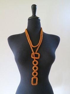 Bronze Cinnamon Spice Color Cord Rope Statement Necklace Lariat Choker Bib with Crocheted Rectangles and Rings Textile Jewelry, Fabric Jewelry, Handmade Necklaces, Handmade Jewelry, Crochet Necklace Pattern, Felted Wool Crafts, Green Necklace, Lariat Necklace, Love Crochet