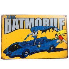 Batman Robin, Tin Signs, Wall Signs, Batman Merchandise, Batman Batmobile, Vintage Metal Signs, Vintage Comics, Decoration, Dc Comics