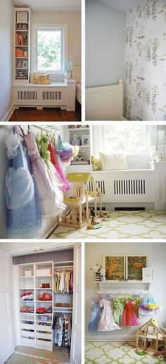Little Girls Bedroom Ideas: Love the hooks to hang the dress up clothes keeps them organized, on display, and easily accessible.