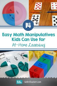 14 Easy Math Manipulatives Kids Can Use for At-Home Learning. Doing remote teaching or online learning? Invite kids to explore with these at-home math manipulatives. Math truly is all around us. #teachingmath #math #activities #activitiesforkids #elementaryschool Easy Math, Simple Math, Fun Math, Activities For Kids, Math Card Games, Learning Stations, Math Manipulatives, Home Learning, First Grade Math