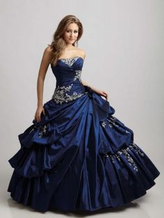 Blue Taffeta Strapless Applique Ball Gown Gothic Wedding Dress