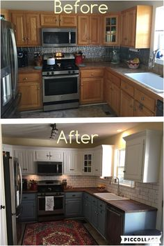 4 Quick ideas: Old Kitchen Remodel Small farmhouse kitchen remodel legs.Mobile Home Kitchen Remodel Diy kitchen remodel wall removal upper cabinets.Mid Century Kitchen Remodel Before After. Cheap Kitchen Makeover, Cheap Kitchen Remodel, Remodel Bathroom, Small Kitchen Makeovers, 1970s Kitchen Remodel, Room Makeovers, Kitchen Tops, Kitchen Backsplash, Smart Kitchen