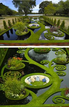Stunning water garden design from the 2013 Ellerslie International Flower Show in Christchurch, New Zealand. Imagine having outdoor seating like this! Topiary Garden, Garden Art, Formal Gardens, Outdoor Gardens, Landscape Architecture, Landscape Design, Floating Garden, Flower Show, Water Garden