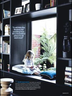 Bay window seat with cabinet/ shelving -- dustjacket attic: Interior Design Interior Architecture, Interior And Exterior, Home And Living, Home And Family, Modern Family, Small Living, Melbourne House, My New Room, My Dream Home