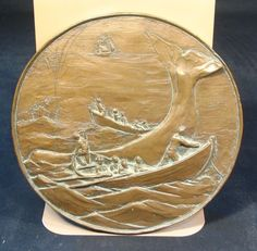 "Nautical Whaling Bronze Relief Plaque Sculpture Signed 8"" Moby Dick Medallion 