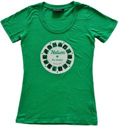 Ladies Nelson retro viewfinder t shirt in apple green. Hand drawn and hand printed by Sonja in Nelson, New Zealand. Nelson New Zealand, My Design, Apple, Retro, Lady, Tees, Mens Tops, T Shirt, Fashion