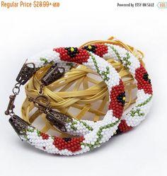 SALE Poppy bracelet white red bracelet chrochet rope bracelet red poppy flower bracelet red poppy gree  leaves bracelet ethnic gift