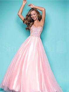 Shiny A-line Sweetheart Sweep Train Prom Dress