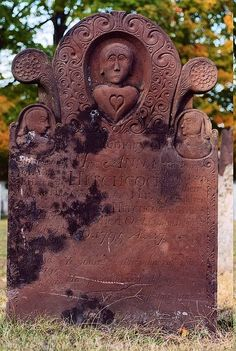 Hillside Cemetery, Cheshire, Connecticut -- Unusually ornate marker made from sandstone for Anna (Asa) Hitchcock, Oct. 6, 1795 27 Yrs and their son Amasa B. Aug. 3, 1795 3 Yrs; and 2 children who died in infancy  #headstone #tombstone #gravestone