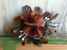 Brown Bamboo Floral & Feather Hair Accessory by nickelbugdesigns, $7.50