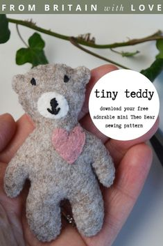 tiny teddy bear free sewing pattern PDF by A Sewing Life with beautiful pattern to download as well as expert tips and step by steps from Lisa herself #teddy #bear #sewing #pattern #etsy #free #frombritainwithlove Craft Tutorials, Sewing Tutorials, Sewing Projects, Sewing Patterns Free, Free Sewing, Tiny Teddies, Willow Weaving, Sewing Courses, Creative Workshop