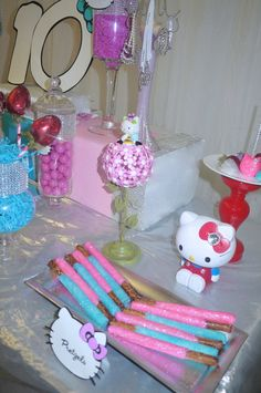 Sweets at a Hello Kitty Birthday Party!  See more party ideas at CatchMyParty.com!