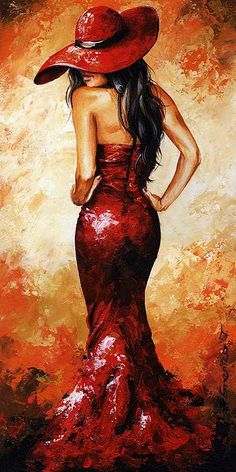 Lady In Red 035 by Emerico Imre Toth - Lady In Red 035 Painting - Lady In Red 035 Fine Art Prints and Posters for Sale